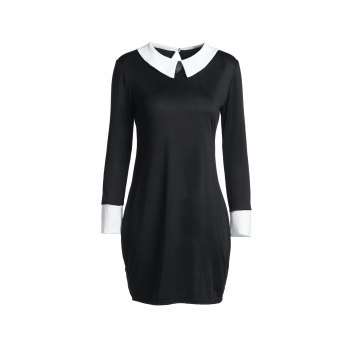 Fashion 3/4 Sleeve Flat Collar Hit Color Women's Dress