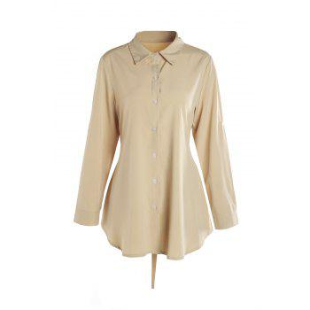 Sweet Pure Color Polo Collar Bowknot Long Sleeve Blouse For Women