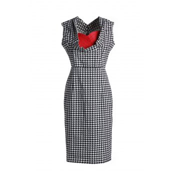 Graceful Houndstooth Printed Sweetheart Neck Sleeveless Dress For Women - WHITE AND BLACK 2XL