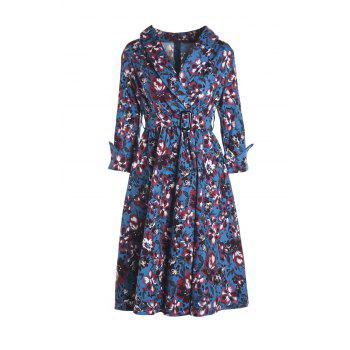 Noble 3/4 Sleeve Shawl Collar Purple Floral Print Women's Dress