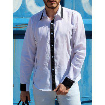 Trendy Color Block Fake Tie Design Shirt Collar Long Sleeve Slimming Men's Polyester Shirt - WHITE M