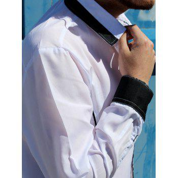 Trendy Color Block Fake Tie Design Shirt Collar Long Sleeve Slimming Men's Polyester Shirt - M M