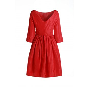 Endearing Solid Color 1/2 Sleeve Pleated Flare Dress For Women
