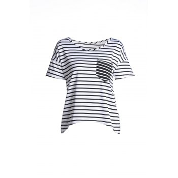 Stylish Women's Scoop Neck Short Sleeve Striped Loose-Fitting T-Shirt