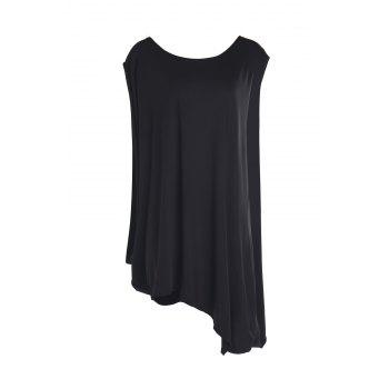 Stylish Skew Neck Short Sleeve Loose-Fitting Asymmetrical Women's Dress - BLACK M
