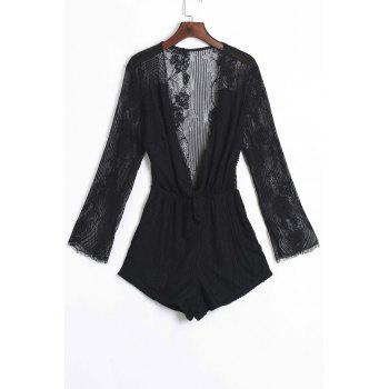 Sexy Plunging Neck See-Through Lace Spliced Flounce Romper For Women