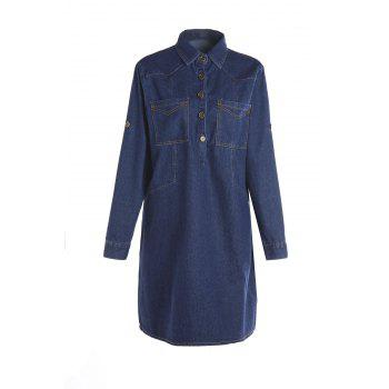 Attractive Solid Color Shirt Collar Long Sleeve Denim Dress For Women
