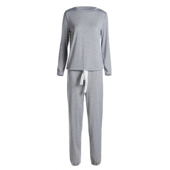 Casual Women's Scoop Neck Long Sleeve Top and Drawstring Pants Suit - GRAY M