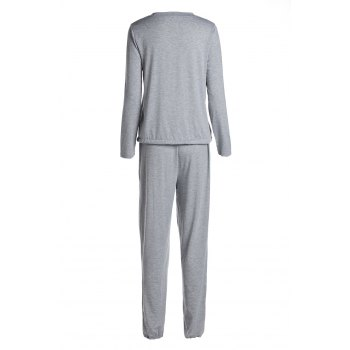 Casual Women's Scoop Neck Long Sleeve Top and Drawstring Pants Suit - M M