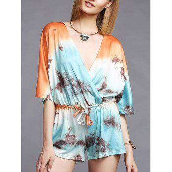 Fashionable 3/4 Sleeve Plunging Neck Printed Women's Romper