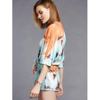 Fashionable 3/4 Sleeve Plunging Neck Printed Women's Romper - COLORMIX L