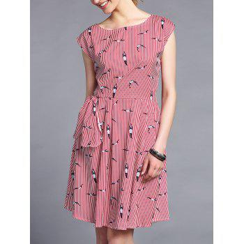 Trendy Round Collar Printed Slimming Stripe Women's Dress