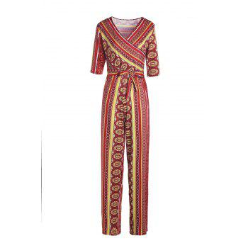 Sexy Printed Plunging Neck Half Sleeve Jumpsuit For Women