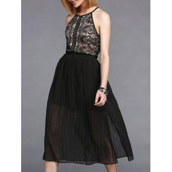 Trendy Sleeveless Furcal Pleated Lace Spliced Women's Dress