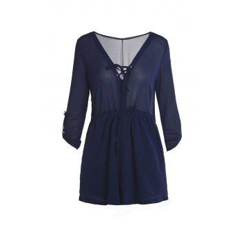 Brief Pure Color V-Neck Loose Long Sleeve Romper For Women