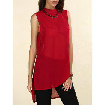 Stylish Women's Round Neck High-Low Slit Chiffon Blouse