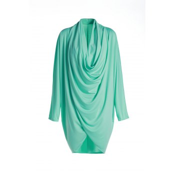 Cowl Neck Long Sleeve Pure Color Coat For Women - GREEN XL