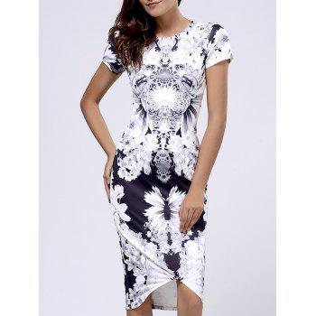 Bodycon Women's Short Sleeve Floral Print Round Neck Dress