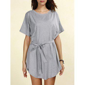 Casual Self-Tie Short Sleeve Round Neck Women's Dress