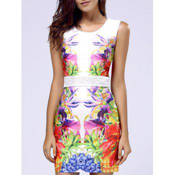 Sweet Floral Print Sleeveless Lace Waist Women's Dress