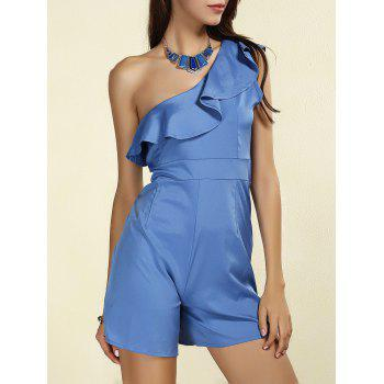 Stylish Solid Color Skew Neck Flounced Women's Romper