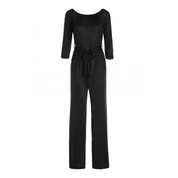 Sexy Long Sleeve Off-The-Shoulder Solid Color Wide Leg Women's Jumpsuit - BLACK XL