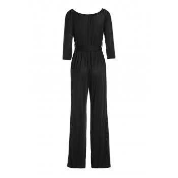 Sexy Long Sleeve Off-The-Shoulder Solid Color Wide Leg Women's Jumpsuit - XL XL