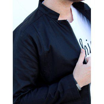 Slimming Stand Collar Zipper Pocket French Front Fabric Spliced Long Sleeves Men's Casual Jacket - BLACK BLACK