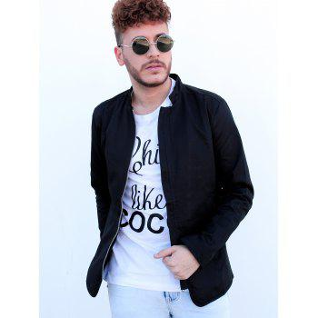 Slimming Stand Collar Zipper Pocket French Front Fabric Spliced Long Sleeves Men's Casual Jacket - BLACK 3XL