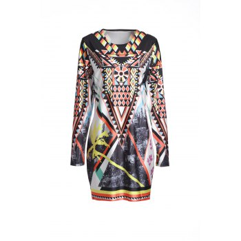 Retro Style Long Sleeve Geometric Printed Bodycon Dress For Women