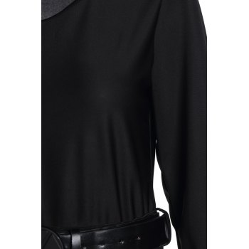 Long Sleeve Scoop Neck Hit Color Dress For Women - BLACK S