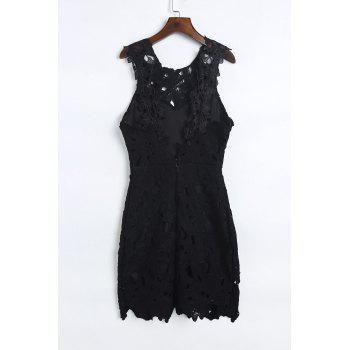 Alluring Sleeveless Scoop Neck Hollow Out Backless Women's Black Dress