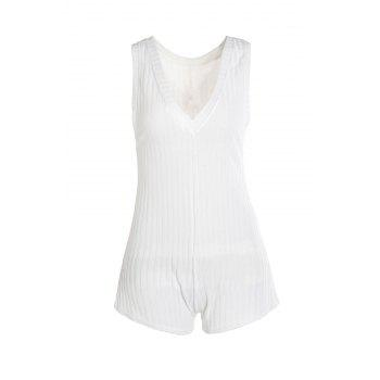 Casual White Backless Sleeveless Knitted Romper For Women