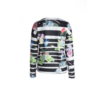 Attractive Striped Colorful Printed Long Sleeve T-Shirt For Women - XL XL