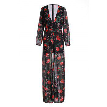 Attractive Floral Printed Plunging Neck High Low Romper For Women