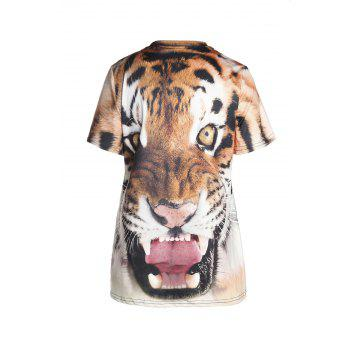 Stylish Round Neck Short Sleeve Tiger Print Women's T-Shirt - COLORMIX XL