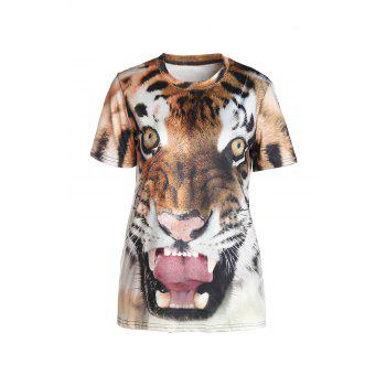 Stylish Round Neck Short Sleeve Tiger Print Women's T-Shirt