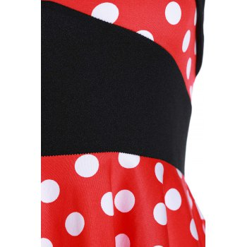 Vintage Women's Halterneck Polka Dot Print A-Line Dress - M M