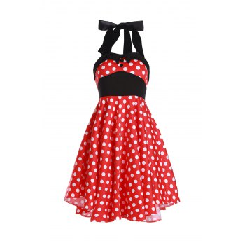 Vintage Women's Halterneck Polka Dot Print A-Line Dress