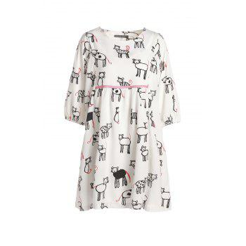 Stylish Women's Scoop Neck Print 3/4 Sleeve Dress