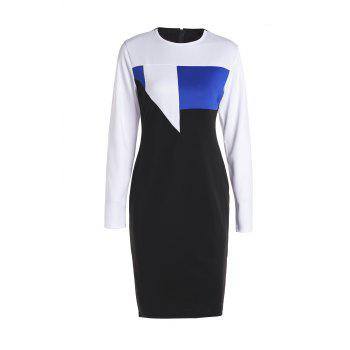 Sexy Round Neck Long Sleeve Bodycon Hit Color Women's Dress