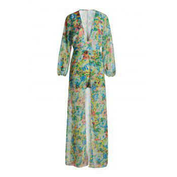 Fresh Style Plunging Floral Printed Neck High Low Romper For Women