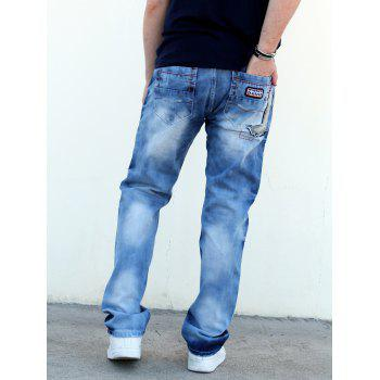 Zip Fly Patch Design Distressed Straight Denim Pants - BLUE BLUE
