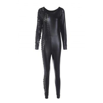 Sexy Women's Scoop Neck Black PU Leather Long Sleeve Jumpsuit