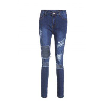 Chic High-Waisted Bodycon Hole Design Women's Jeans - BLUE XL