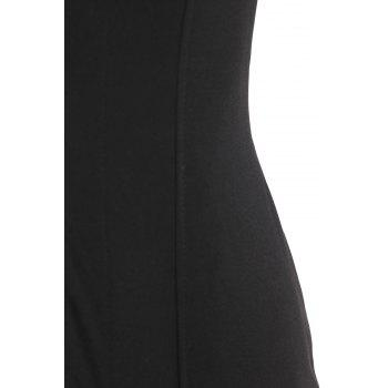 Sexy Plunging Neck Sleeveless Zip Up Women's Black Mini Dress - ONE SIZE(FIT SIZE XS TO M) ONE SIZE(FIT SIZE XS TO M)