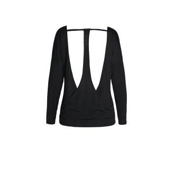 Stylish Long Sleeve V-Neck Cut Out Backless Women's Black T-Shirt