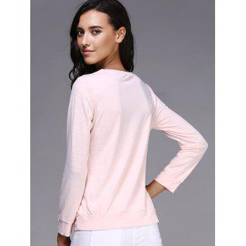 Casual Letter and Rose Printed Pullover Sweatshirt For Women - PINK M