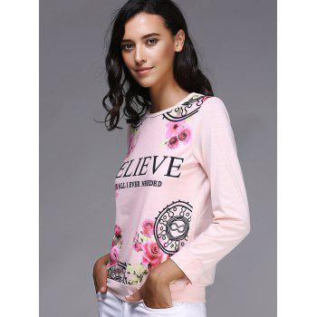 Casual Letter and Rose Printed Pullover Sweatshirt For Women - L L