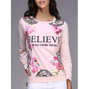 Casual Letter and Rose Printed Pullover Sweatshirt For Women - PINK L